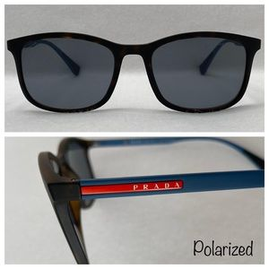 PRADA Polarized Wayfarer Dark Tortoise/Blue Grey